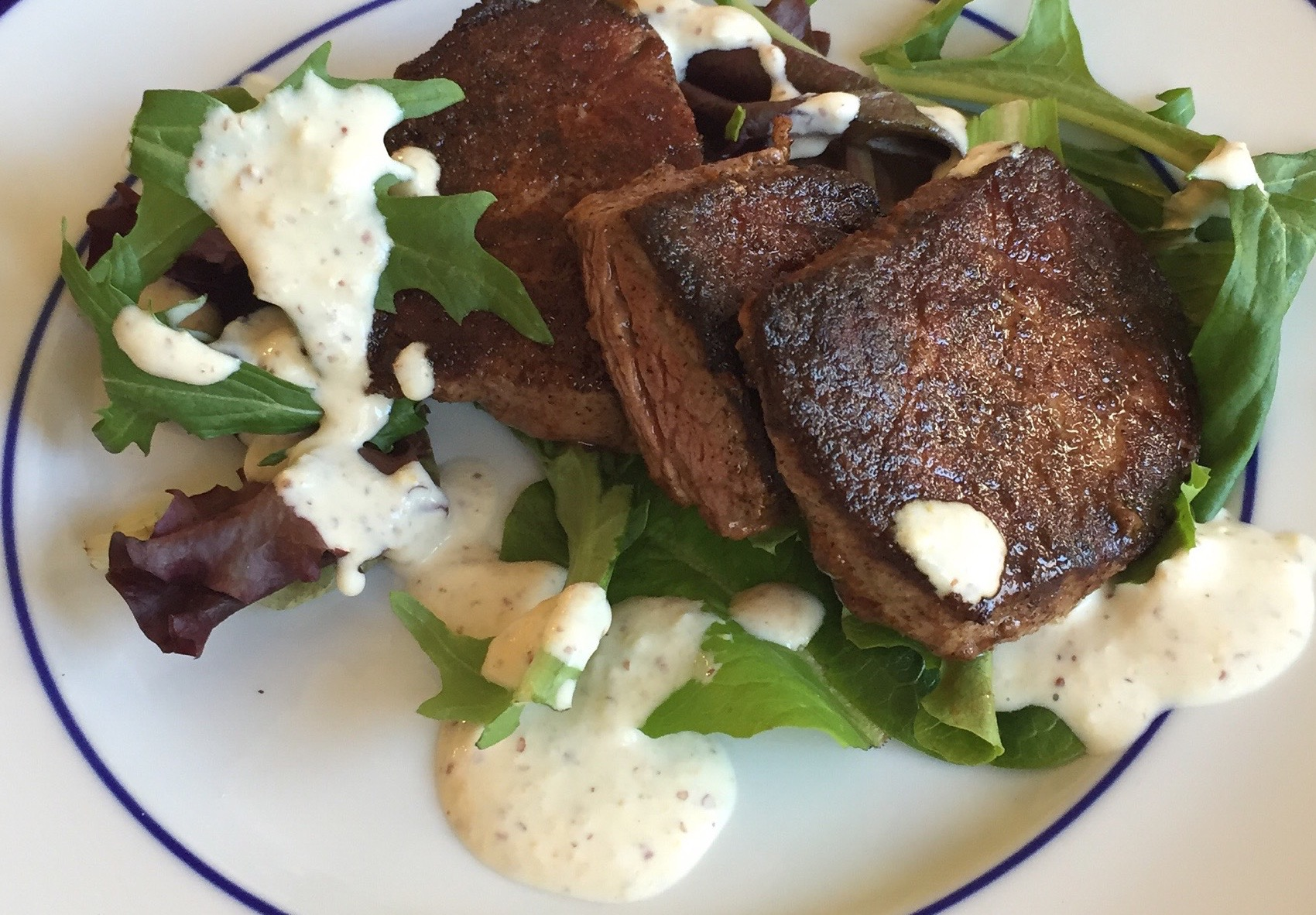 Seared Baja Beef Tenderloin with Spring Greens and Parmesan, Mustard and Horseradish Sauce